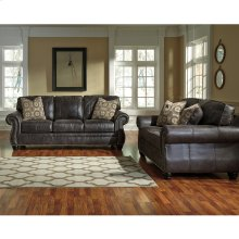 Benchcraft Breville Living Room Set in Charcoal Faux Leather [FBC-8009SET-CH-GG]