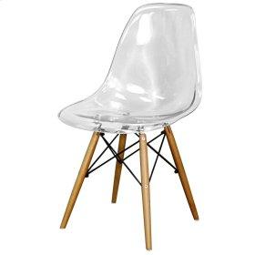 Allen Molded PC Chair Maple Dowel Legs, Transparent Crystal