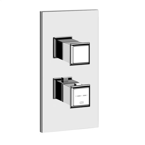 "TRIM PARTS ONLY External parts for thermostatic with single volume control Single backplate High capacity 3/4"" connections Vertical/Horizontal application Anti-scalding Requires in-wall rough valve 39691"