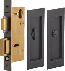 Pocket Door Lock with Traditional Rectangular Trim featuring Turnpiece and Emergency Release in (US10B Oil-Rubbed Bronze, Lacquered)