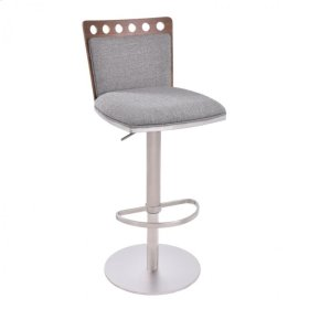 Armen Living Brooke Barstool in Brushed Steel finish with Gray Fabric upholstery and Walnut back