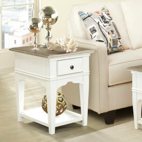 Myra - Chairside Table - Natural/paperwhite Finish
