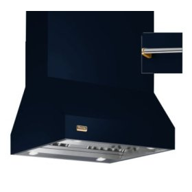 """66"""" Wide Island Hood, Brass Accessory Rail on front, back and both sides"""