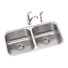 "Dayton Stainless Steel 31-3/4"" x 18-1/4"" x 8"", Equal Double Bowl Undermount Sink and Faucet Kit"