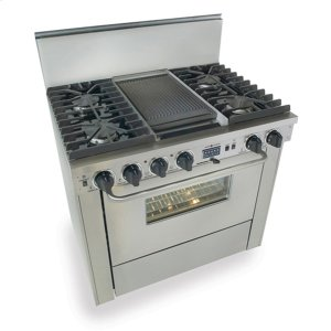 "Five Star36"" Dual Fuel, Convect, Self-Clean, Sealed Burners, Stainless Steel"