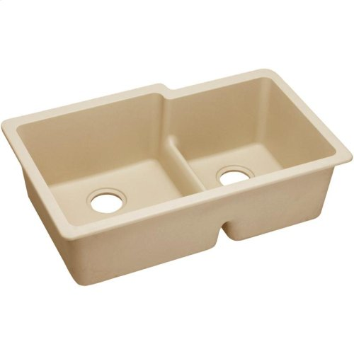 "Elkay Quartz Classic 33"" x 20-1/2"" x 9-1/2"", Offset Double Bowl Undermount Sink with Aqua Divide, Sand"