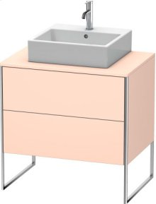 Vanity Unit For Console Floorstanding, Apricot Pearl Satin Matt Lacquer