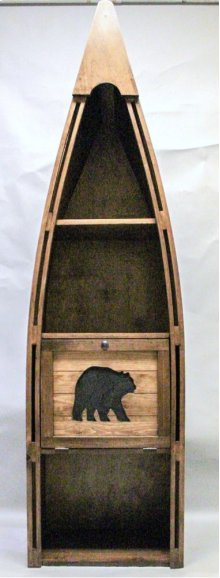 "#102C Canoe Bookshelf with Cutout Bear 23.5""wx16.5""dx83""h"