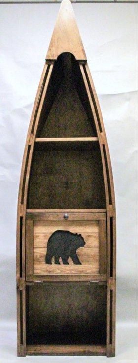 #102C Canoe Bookshelf with Cutout Bear