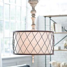 Gesso Spindle Chandelier