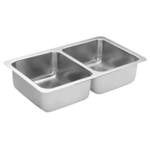 1800 Series 31-3/8x18 stainless steel 18 gauge double bowl sink