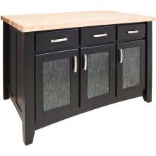 "52-1/2"" x 32-1/2"" x 35-1/2"" Furniture style kitchen island with Black finish."