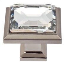 Legacy Crystal Square Knob 1 5/16 Inch - Brushed Nickel