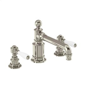Arcade White Lever Widespread Lavatory Faucet - Polished Nickel