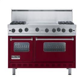 """Burgundy 48"""" Open Burner Range - VGIC (48"""" wide, four burners 24"""" wide griddle/simmer plate)"""