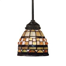 Jewelstone 1-Light Mini Pendant in Tiffany Bronze with Tiffany Style Glass