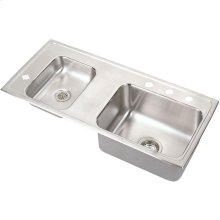 "Elkay Lustertone Classic Stainless Steel 37-1/4"" x 17"" x 5-1/2"", Double Bowl Drop-in Classroom ADA Sink"