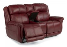 Brookings Leather Power Reclining Loveseat with Console