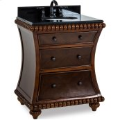 """30"""" vanity with rosewood finish and hand-carved beaded details with preassembled top and bowl."""