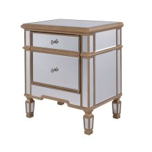 """1 Door Cabinet 24"""" x 16"""" x 27"""" Gold Finish with Clear Mirror"""