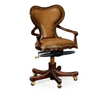 Adjustable Kidney Desk Chair in Medium Antique Chestnut Leather