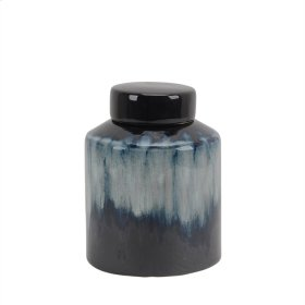 "Ceramic 8.5"" Covered Jar, Multi"
