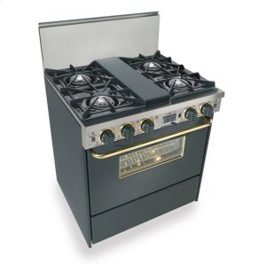 """Five Star30"""" Dual Fuel, Convect, Self Clean, Open Burners, Black with Brass"""