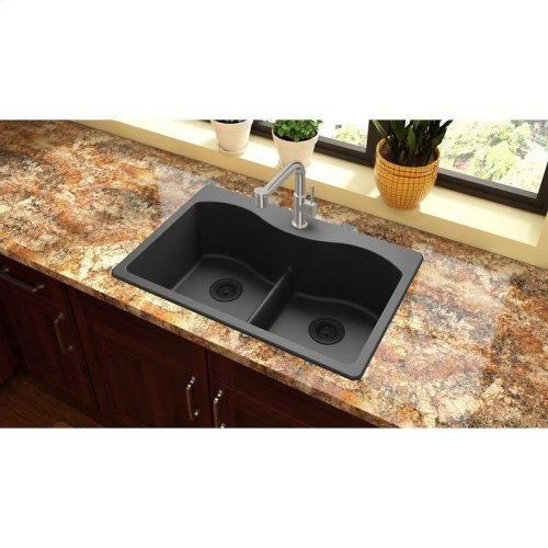 """Elkay Quartz Classic 33"""" x 22"""" x 9-1/2"""", Equal Double Bowl Drop-in Sink with Aqua Divide, Black"""