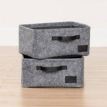 Small Woven Felt Baskets, 2-Pack - Gray