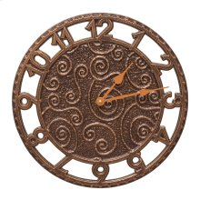 "Flourish 14"" Indoor Outdoor Wall Clock - Antique Copper"