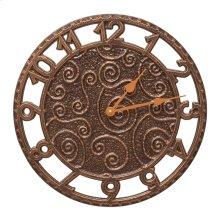 "Flourish 14"" Indoor Outdoor Wall Clock - Antique Copper"