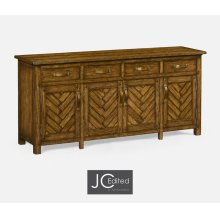 Country Walnut Parquet Sideboard with Strap Handles