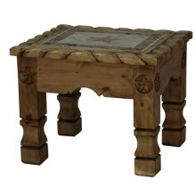 End Table W/Rope,Stone&Star