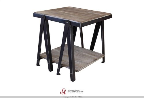Cocktail Table - Iron structure w/wooden shelves
