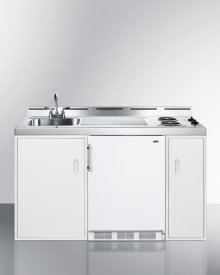 """60"""" Wide All-in-one Kitchenette With Two Coil Burners, A Cycle Defrost Refrigerator-freezer, Sink, and Storage Cabinets; Replaces C60"""