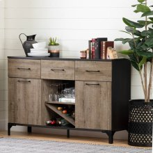 Buffet with Wine Storage - Weathered Oak and Ebony