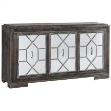 Hex Filigree  66in X 18in X 37in  Three Door Credenza with Plain Mirror Panel Doors Made of Mdf &