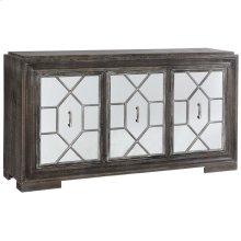 Hex Filigree  66in X 18in X 37in  Three Door Credenza with Plain Mirror Panel Doors Made of Mdf &