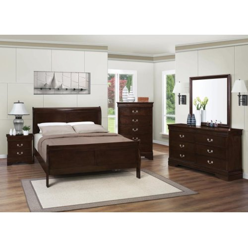 Louis Philippe Traditional Cappuccino King Five-piece Bedroom Set
