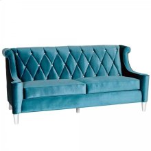 Barrister Sofa In Blue Velvet With Crystal Buttons