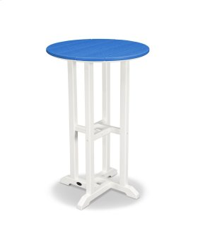 "White & Pacific Blue 24"" Round Counter Table"