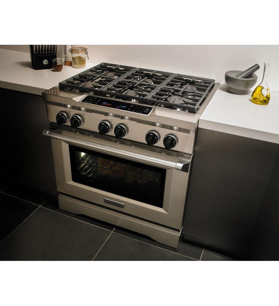 Attirant KITCHENAID 36u0027u0027 6 Burner Dual Fuel Freestanding Range, Commercial Style