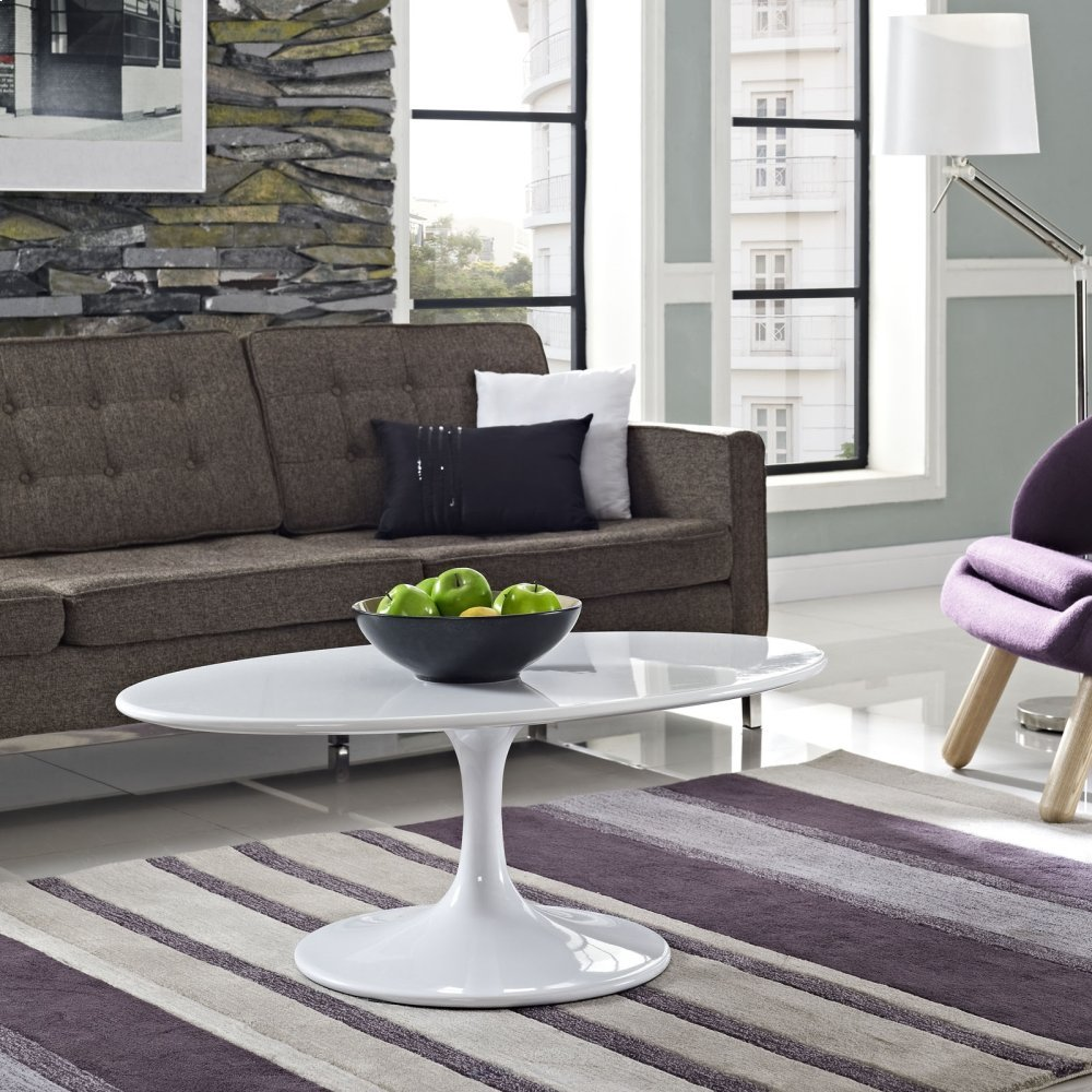 """Lippa 42"""" Oval-Shaped Wood Top Coffee Table in White"""