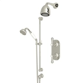 Polished Nickel Perrin & Rowe Georgian Era Thermostatic Shower Package with Georgian Era Metal Lever With Porcelain Cap