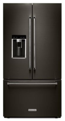 """Almost Blemished - 23.8 cu. ft. 36"""" Counter-Depth French Door Platinum Interior Refrigerator with PrintShield Finish - Black Stainless"""