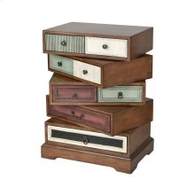 Willard Mahogany Tone Stain With Multi-colored Hand Painted Drawers Chest