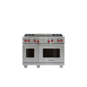 """WOLF48"""" Dual Fuel Range - 4 Burners and Infrared Dual Griddle"""