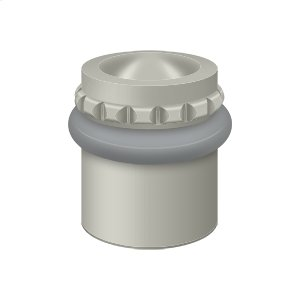 "Round Universal Floor Bumper Pattern Cap 1-1/2"", Solid Brass - Brushed Nickel"