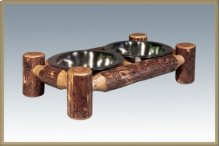 Glacier Country Log Small Pet Feeder