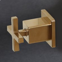Built in two way diverter with a cross handle and backplate.